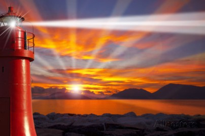 alberto-masnovo-red-lighthouse-with-light-beam-at-sunset