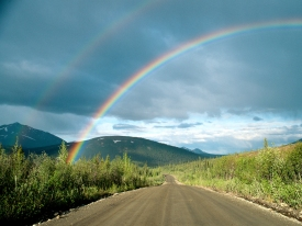 Double rainbow over the Denali Highway.