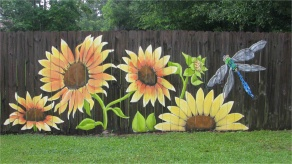 """fence art ideas Awesome Sunflowers"""" You can see more of my work Lori Gomez Art on fb"""