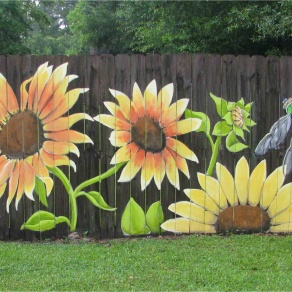 "fence art ideas Awesome Sunflowers"" You can see more of my work Lori Gomez Art on fb"