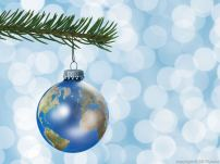 Earth globe Christmas ornament on tree